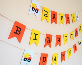 Construction Birthday Banner - Personalized Banner - Dump Truck Banner - Party Banner - Photo Prop