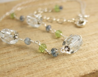 Necklace with Etched Glass, Blue Mystic Quartz and Peridot Beads, Wire Wrapped with Sterling Silver Wire CDN-723