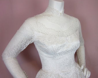 Vintage 50s Earth Angel Wedding Gown, Sz S
