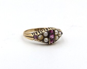Victorian 15ct Gold Seed Pearl & Pink Stone Ring | UK size L 1/2 - US size 6 | Antique 15k Ring