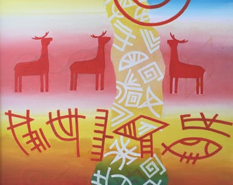 """Fedir Panchuk original oil painting on canvas """"Three deer"""" from the series """"Sumerian Signs"""""""