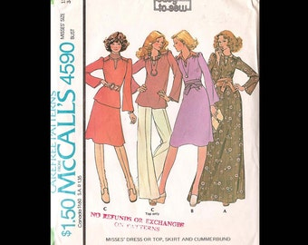 1975 McCalls Misses Dress or Top, Skirt and Cummerbund Pattern 4590 - Vintage Sewing Pattern - UNCUT - Women Misses Size 12 - Fashion DIY
