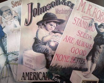 Set of 3 metal sign ' faithfully sewing ' ' Johnson & Co apples American Fruits ' 'm. R. Robet Co ' set of metal signs vintage advertisement Decor