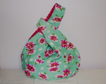 Japanese Knot Bag/Knitting Bag  Pink daises/on mint green