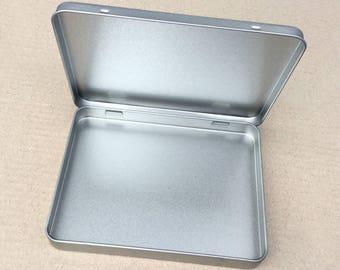 Rectangular Metal Tin, Blank Hinged Tin, Color Silver 350ml Tin box, A6 Size Tin Box (a set of 100 tin boxes), Tin Box For Craft Supply