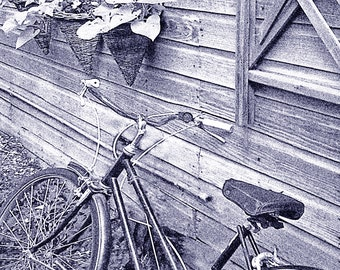 Just Leaning, Bike and Rustic Garden Shed Photo 5x7 or 8x10 Dark Blue