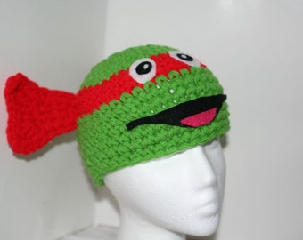 Child size Fun and unique red Ninja turtle hat - handmade crocheted character hat