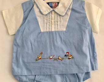 Vintage 1950s 60s Infant Newborn Boys Shirt Diaper Cover Outfit New Old Stock