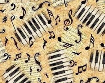 Music Fabric, Piano Keys, Music Notes, Quilting Treasures Fabric, By The Yard, Encore, Butterscotch,  TheFabricEdge