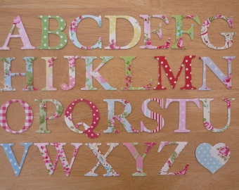 "2"" Shabby Chic Iron on Fabric Letters -  5cm uppercase appliques - made to order, choose your letters and fabrics - ships from UK"
