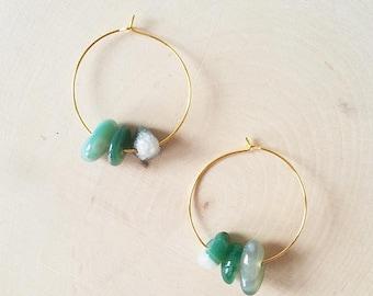 Thin Hoops, Gold Hoop Earrings, Simple Gold Hoop Earrings, Moss Agate Earrings Gold, Valentine's Day Gift, Gift for Her, Gift for Women