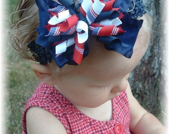 4th of July baby headband, Red white blue headband, Military headband, Infant headbands, USA headband, Patriotic headbands, hairbows, girls