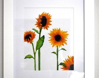 Sunflowers Print- 8 x 10- Watercolor- Illustration- Print