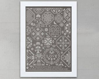 INSTANT DOWNLOAD Love & Unity Sampler PDF counted cross stitch patterns by Modern Folk monochromatic wedding marriage