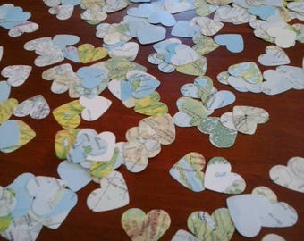200 paper hearts hand punched from vintage atlas pages maps for confetti bon voyage wedding or use in art craft collage cards scrapbooks