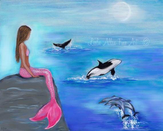 Mermaid Art Print Mermaid Painting Mermaid Decor Dolphin Art
