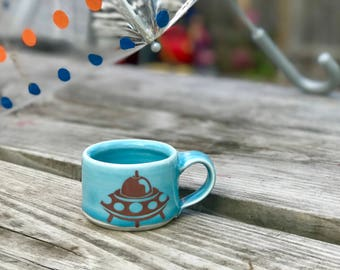 Kid cup: kid sized cup blue spaceship themed cup spaceship kid cup montessori cup ceramic mug handmade children's mug blue espresso cup