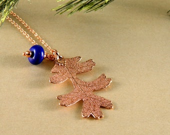 Rose Gold Dipped Oak Leaf on 30 inch chain with Blue Glass Accent, Gift for Her