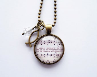 Music Pendant Necklace - A Mighty Fortress Is Our God - Inspirational Jewelry - Music Jewelry - Hymn - Martin Luther Reformation - Customize