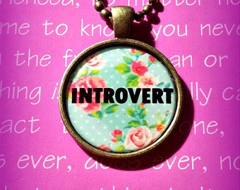 Introvert Floral Roses Pink Blue Pastel Round Bronze Necklace