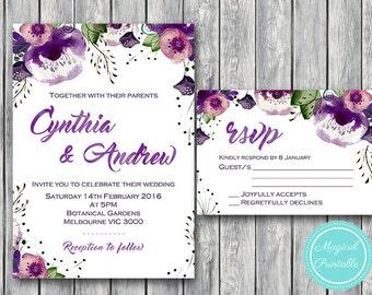 Purple  Wedding Invitation Set, Wedding Invitation Printable, Bridal Shower Invitation, Personalized, Wedding Invitation Suite WD83 WI31