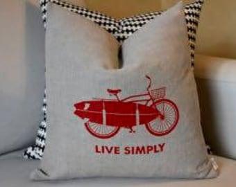 100 % Linen Screen Printed Live Simply Bike Pillow