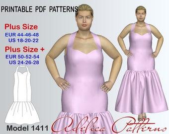 Elegant Mermaid Wedding Dress Sewing Pattern PDF, Evening dress sewing pattern, Bridesmaid Prom dress pattern Sizes 18-28