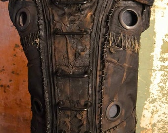 The Loam SceneSick Custom Post Apocalyptic Horror Cyberpunk Witch Biker Ritual Removable Armor Stagewear OOAK Vest