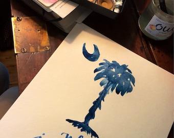 South Carolina Palmetto State Flag SC motto While I Breathe I Hope Indigo Palmetto Moon print of handlettered watercolor