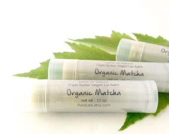 All Natural Matcha Green Tea Lip Balm - Vegan. Unscented.