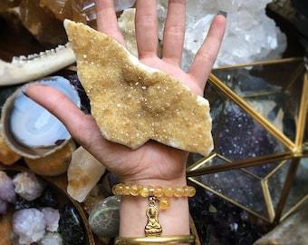 Bracelet Citrine, la méditation Bracelet, Bracelet de pierres précieuses, Bracelet élastique, Bracelet en cristal, Bracelet à breloques, Bracelet, Boho Stacking