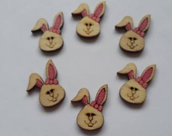pink color 6 painted wooden Bunny buttons