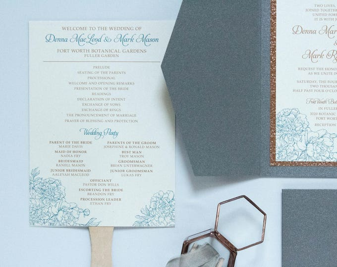 Turquoise and Copper, Rose Gold and Floral 5x7 Die Cut Wedding Ceremony Program Fans