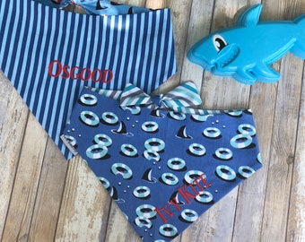 Dog Bandana, Dog Scarf, Dog Bandana with Sharks, Dog Scarf with Teal Lifesavers, Reversible Pet Scarf, Best Puppy Gifts Three Spoiled Dogs