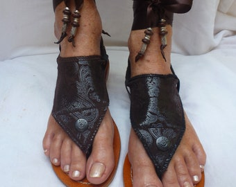 Hippy Chic,Boho, Sole Pakashoes with UniqueB rownLeather Cover Just for YOU Free Shipping