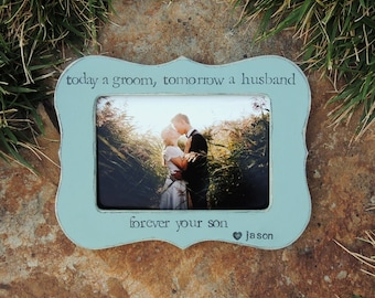 Thank you Gift for Mother mom mommy dad Parent wedding picture frame mother of the groom personalized rustic wedding photo frame gift decor