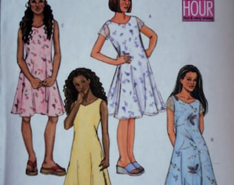 Butterick 4220 Fast & Easy Sewing Pattern, Girls' A-Line Dress, Size 7-8-10, Uncut FF, Girls' Summer Fashion