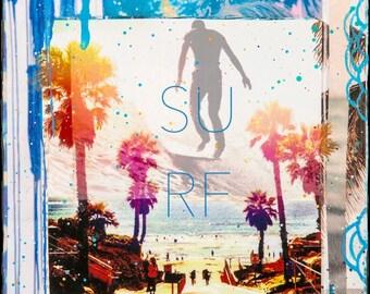 SURF, 3 Sizes, 8x10, 11x14, 16x29, Hand Signed Matted Print, Travel, Solana Beach, Encinitas, Palm Trees, California Art,Ocean Art, Wall Art