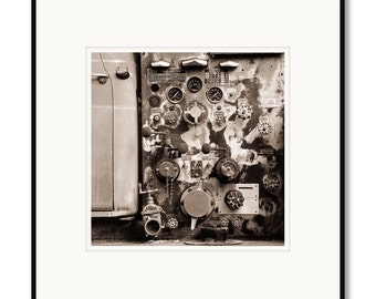 Black and white photography, sepia prints, old fire engine, old fire truck, antique truck, valves pipes gauges equipment, framed matted