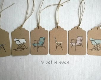 6 labels thick kraft paper and chairs Eames chairs. Vintage vibe