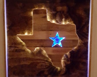Rustic Texas Wall Decor with LEDs