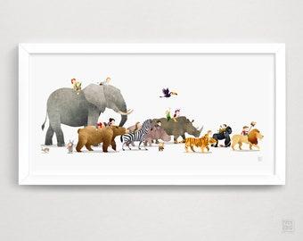 Nursery Wall Art - Animal Print - Baby Gift - Safari Nursery - Nursery Decor - Whimsical - Kids Room Decor - Baby Shower - Animal Parade