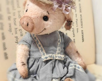 Ellie Mae - A Sweet Hand Sewn Miniature Artist Teddy Bear/Pig