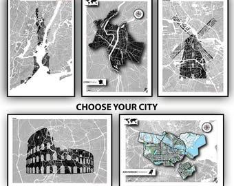 Custom your city map poster impression modern art print
