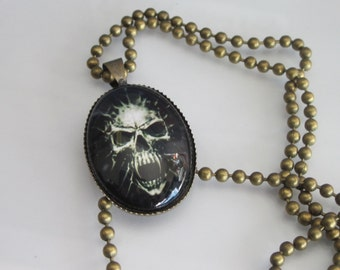 Vampire Skeleton Pendant Necklace, Halloween Necklace, Unisex Jewelry, Antiqued Brass Ball Chain, Skull Pendant, Goth Necklace, Oval Cameo