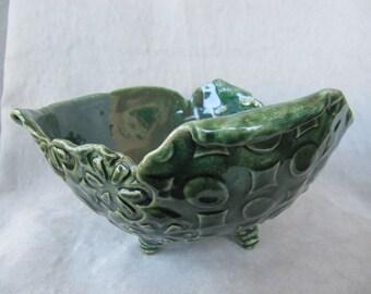 Handbuilt green clay whimsical pottery bowl