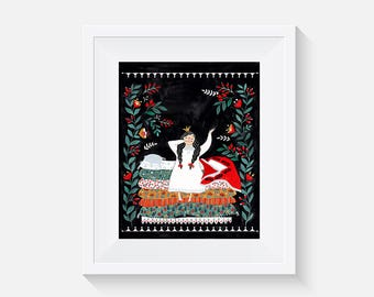 The Princess and the Pea Cover Giclee Art Print 8x10