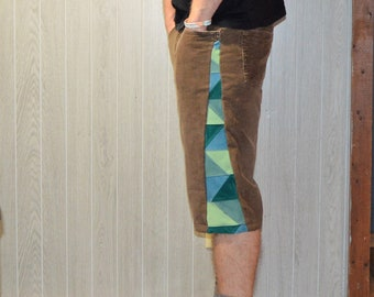 Patchwork Corduroy Shorts Brown Green Hippie Handmade Festival Heady Upcycled Mens 32