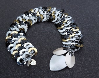 Sophisticated Mix ~ Black, White, Gold & Silver ~ Fantastic Creatures Chainmaille Bracelet OOAK