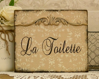 LA TOILETTE bath vintage styled shabby rustic powder room damask sign with applique